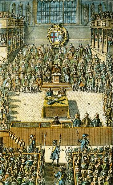 CHARLES I ON TRIAL King Charles I of England (seated alone just before center) on trial before a specially constituted high court of justice in Westminster Hall on 20 January 1649. coloured  English engraving, 1684.