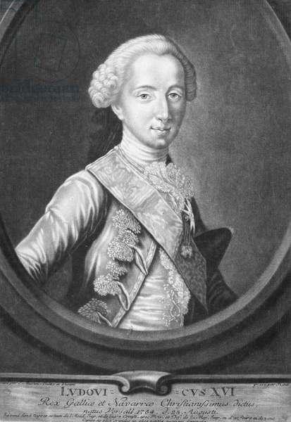 LOUIS XVI (1754-1793) King of France, 1774-1792. Mezzotint, French, c.1774.