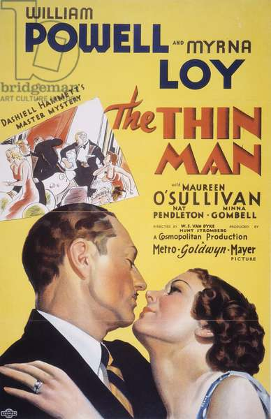 THIN MAN FILM POSTER, 1934 American poster for the 1934 film, 'The Thin Man,' starring William Powell and Myrna Loy as Nick and Nora Charles.