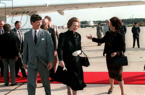 MARGARET THATCHER (1925-2013). English politician. Arriving in the United States for a state visit. Photograph, 30 September 1983.