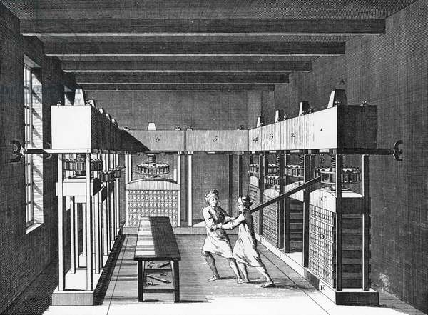 TOBACCO, 18TH CENTURY Two workers turning a press to compress snuff tobacco into molds. Copper engraving from 'L'Encyclopedie' of Denis Diderot, 18th century.