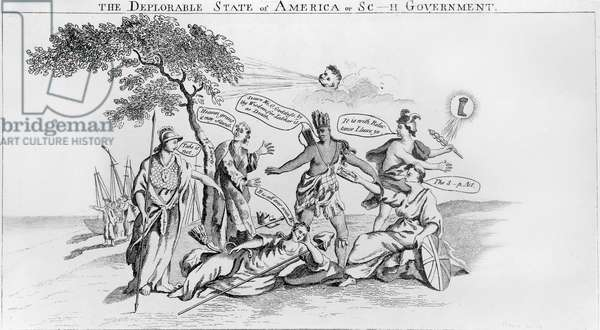STAMP ACT CARTOON, 1765 'The Deplorable State of America or Sc-H Government.' Britannia (seated, right) handing America the Stamp Act in the form of Pandora's Box. Minerva says 'Take it not,' and Mercury (trade) is reluctantly leaving. Contemporary English cartoon.