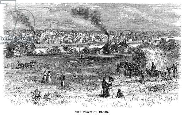 ILLINOIS: ELGIN, 1869 The town of Elgin, Illinois. Wood engraving, American, 1869.