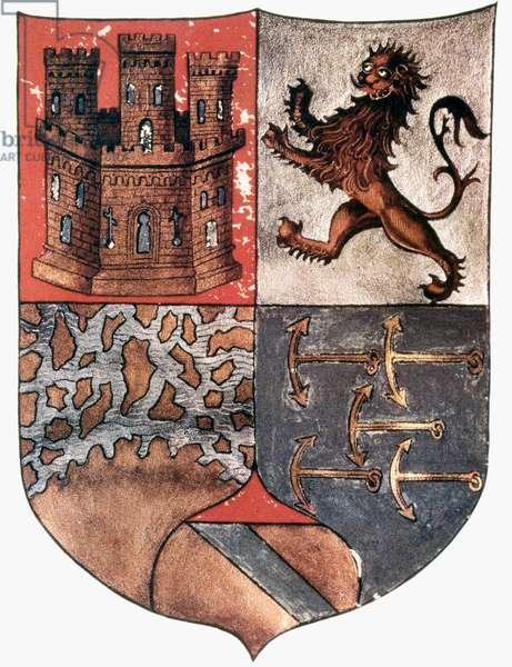 COLUMBUS COAT OF ARMS Coat of arms of Christopher Columbus (1451-1506), Italian navigator.