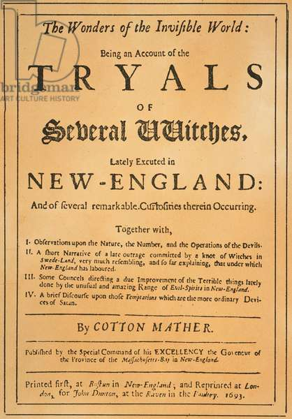 COTTON MATHER, 1693 Title-page of the 1693 London edition of Cotton Mather's 'The Wonders of the Invisible World,' dealing with the witchcraft delusions in New England.