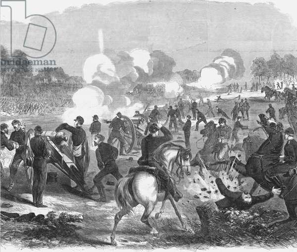 SEVEN DAYS' BATTLES, 1862 Union batteries fire on Confederate troops at close range during the Battle of Gaines' Mill, Virginia, 27 June 1862. Wood engraving from a contemporary American newspaper.