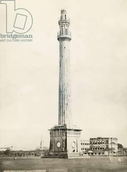INDIA: CALCUTTA The Shaheed Minar (Ochterlony Monument) in Calcutta, India. Photograph by Francis Frith, c.1865.