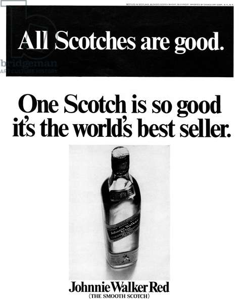 AD: JOHNNIE WALKER, 1968 American advertisement for Johnny Walker Red Scotch. Photograph, 1968.