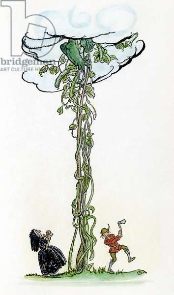 JACK AND THE BEANSTALK Jack chopping down the magic beanstalk to save himself and his mother from the Giant. Illustration by Arthur Rackham for a 1918 edition of the traditional English fairy tale.