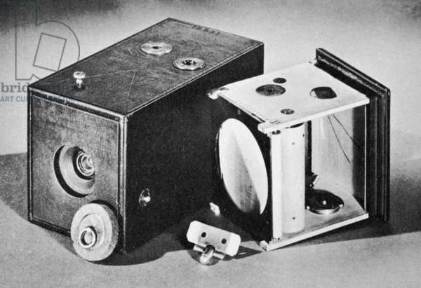 KODAK BOX CAMERA, 1888 Kodak #1, the box camera which popularized photography among amateurs, patented by George Eastman in 1888.