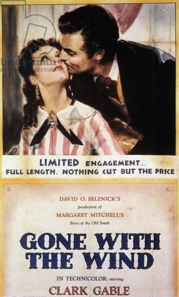 GONE WITH THE WIND POSTER American poster for the film 'Gone With the Wind,' 1939, starring Clark Gable and Vivien Leigh.