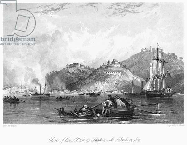 FIRST OPIUM WAR, 1841 The close of the British attack on Shapoo, with the suburbs on fire. Steel engraving after Thomas Allom, 1843.