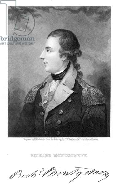 RICHARD MONTGOMERY (1736-1775). American (Irish-born) Revolutionary officer. Steel engraving, 1839, after a painting by C.W. Peale.