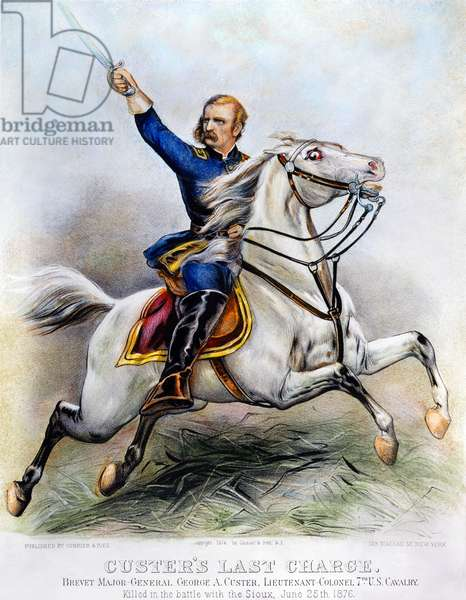 GEORGE ARMSTRONG CUSTER (1839-1876). American army officer. Custer's Last Charge: lithograph, 1876, by Currier & Ives.