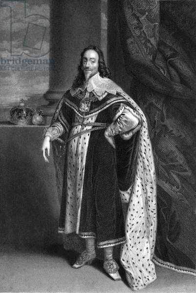 CHARLES I (1600-1649) King of Great Britain and Ireland, 1625-1649. Steel engraving, 19th century, after Sir Anthony Van Dyck.