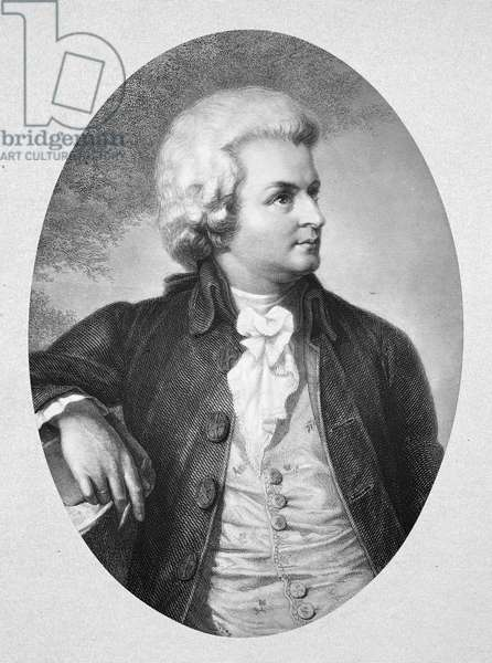 WOLFGANG AMADEUS MOZART (1756-1791). Austrian composer. Mozart at age 30. Steel engraving, German, 19th century, after a painting by Friedrich Schwörer.