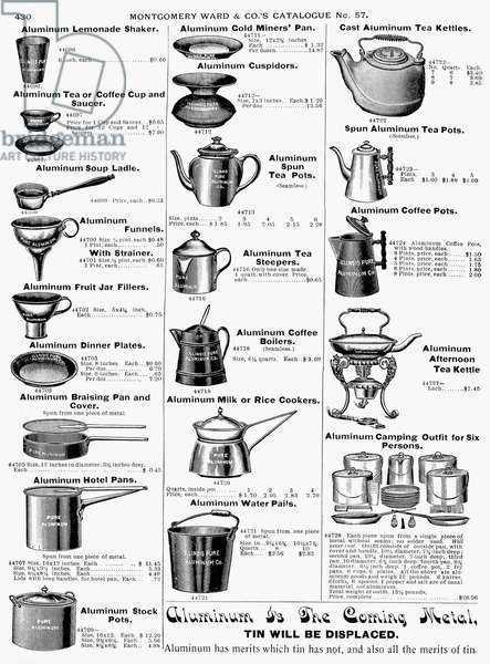 COFFEE POTS AND COOKWARE Page from a Montgomery Ward catalogue of 1895.