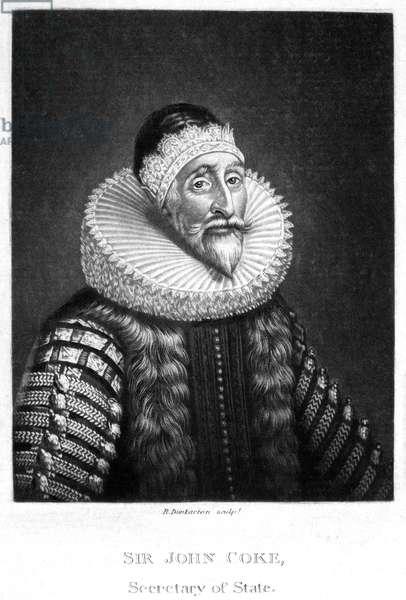 SIR JOHN COKE (1563-1644) Secretary of State to King Charles I of England. Mezzotint, 1813, by Robert Dunkarton.