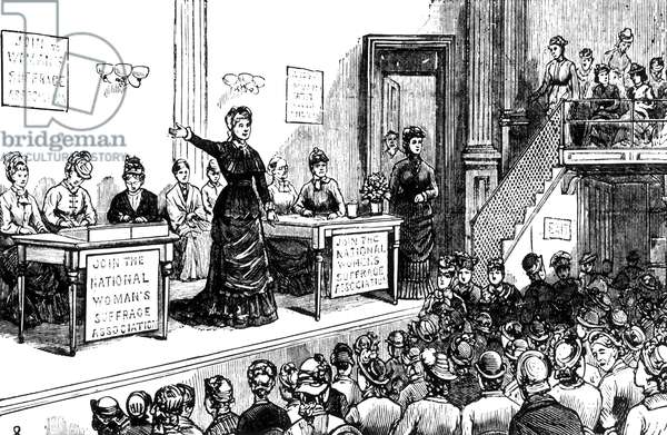 WOMEN'S RIGHTS, 1870s A meeting of the National Women's Suffrage Association in the 1870s, with Susan B. Anthony and Elizabeth Cady Stanton on the platform. Contemporary wood engraving.