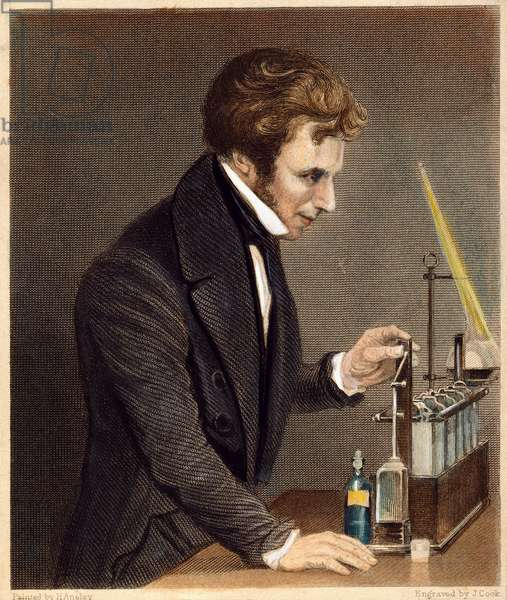 MICHAEL FARADAY (1791-1867) English chemist and physicist: English steel engraving, 1845.