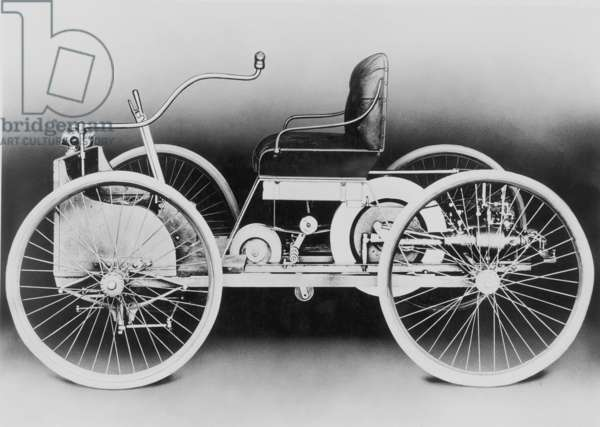 AUTOMOBILE: AN 1896 FORD The Quadricycle of 1896, the first automobile built by Henry Ford, powered by a two-cylinder gasoline engine and attaining a maximum speed of 20 miles per hour.