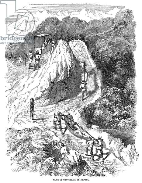 NEPAUL: LITTER, 1857 Mode of traveling in Nepaul. Wood engraving, 1857.