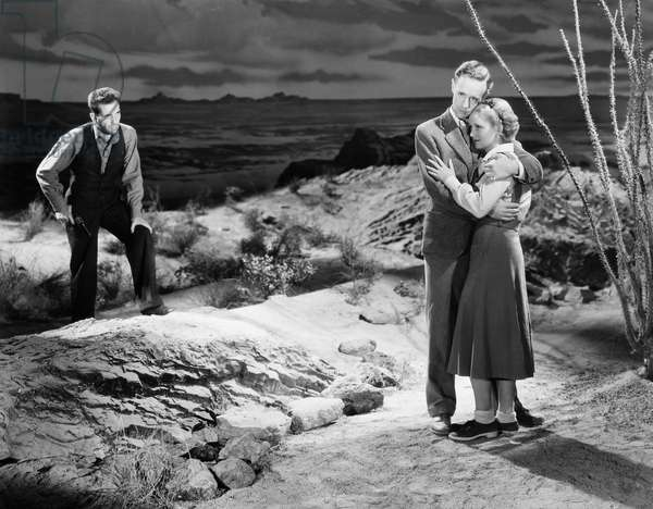 THE PETRIFIED FOREST, 1936 Humphrey Bogart, Leslie Howard and Bette Davis in a scene from the film.