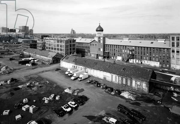 COLT FACTORY, 2005 Colt Firearms Company, view of east armory, north armory, forge shop, and foundry shop, Hartford, Connecticut. Photograph by Jet Lowe, 2005.