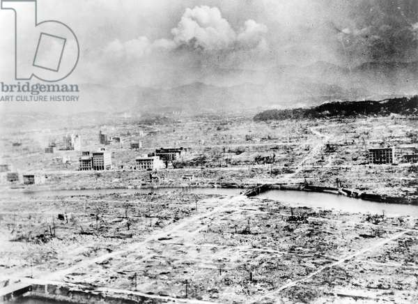 WORLD WAR II: HIROSHIMA Hiroshima, Japan, shortly after the explosion of the first atomic bomb at the end of World War II, 6 August 1945.