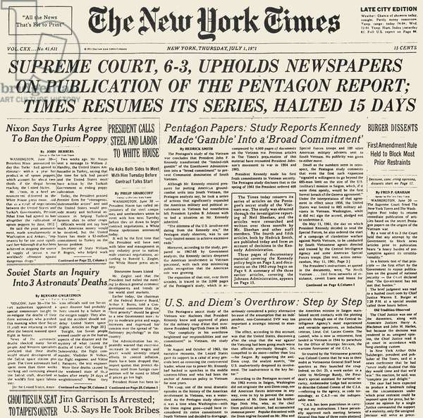 PENTAGON PAPERS, 1971 Front page of The New York Times, 1 July 1971, reporting on the previous day's ruling by the U.S. Supreme Court that upheld the right of newspapers to publish the secret Pentagon Papers on the origins of the Vietnam War.