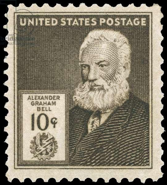 ALEXANDER GRAHAM BELL (1847-1922). American (Scottish-born) teacher and inventor. U.S. commemorative postage stamp, 1940.
