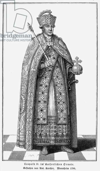LEOPOLD II (1747-1792) Holy Roman emperor, 1790-92. Leopold in imperial robes at his coronation, 1790. After a contemporary German engraving.