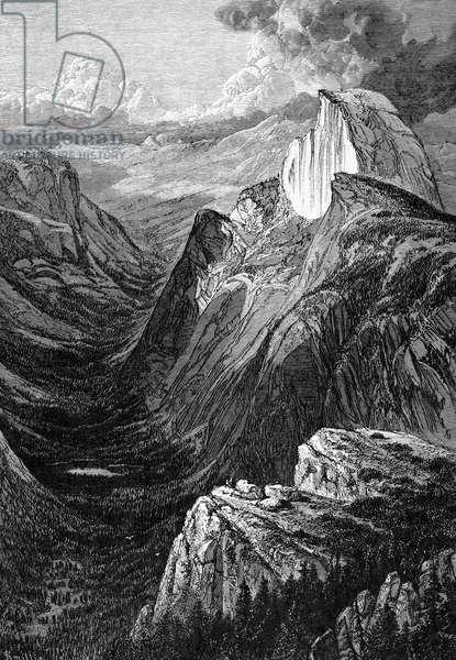 YOSEMITE: TENAYA CANYON Tenaya Canyon viewed from the Glacier Point rock formation, in the Yosemite Valley. Wood engraving, American, 1874.