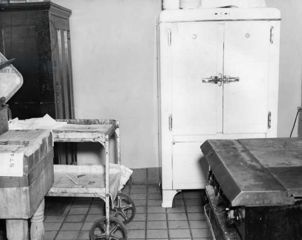 ELLIS ISLAND, c.1943 The icebox in the kosher kitchen used by 'alien enemies' detained at Ellis Island. Photograph, c.1943.