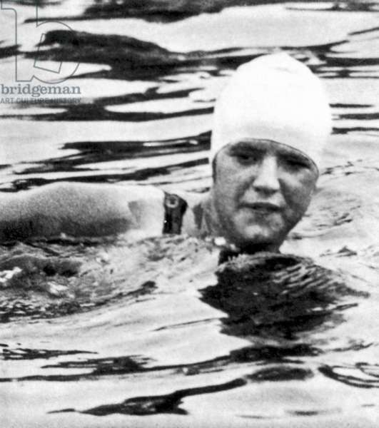 GERTRUDE EDERLE (1906-2003) American swimmer. Photograph, mid-late 20th century.