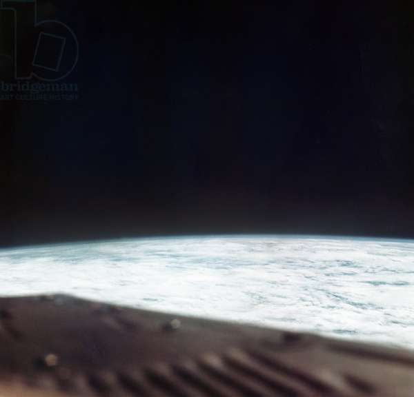 EARTH FROM SPACE, 1965 A view of Earth from space. Photographed by astronauts aboard Gemini VI, 1965.