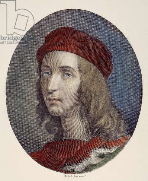 RAPHAEL SANZIO (1483-1520) Italian artist. Steel engraving, Italian 1820.