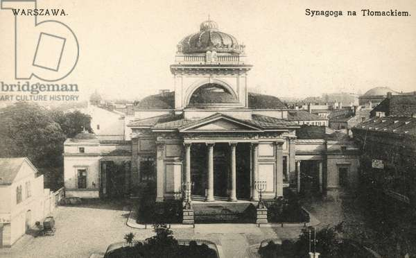 WARSAW: SYNAGOGUE, c.1910 The Great Synagogue in Tlomackie Street, Warsaw, Poland. The synagogue was blown up by the Germans after the Warsaw Ghetto Uprising during World War II. Polish postcard, c.1910.