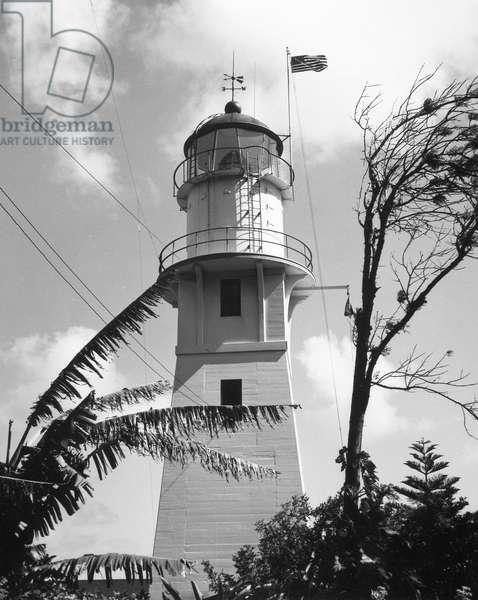 HAWAII: LIGHTHOUSE The lighthouse at Diamond Head Light Station, Oahu Island, Hawaii, 1960.