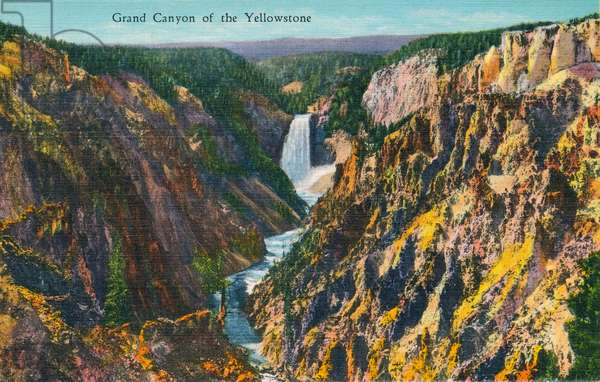 YELLOWSTONE NATIONAL PARK The Grand Canyon of the Yellowstone River, Wyoming. Postcard, American, 1937.