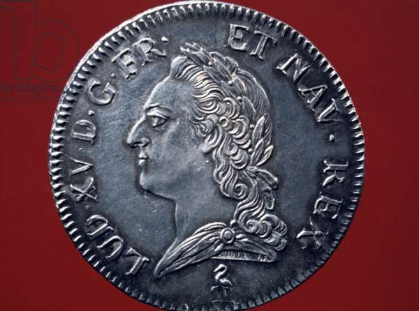 LOUIS XV (1710-1774) King of France, 1715-1774. Relief portrait on a silver crown of his reign.
