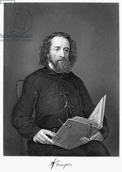 ALFRED TENNYSON (1809-1892) 1st Baron Tennyson. English poet. Steel engraving, 1873.