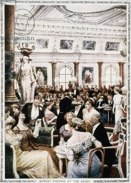 LONDON: SAVOY HOTEL, c.1910 Sunday Evening at the Savoy. Lithograph, c.1910.