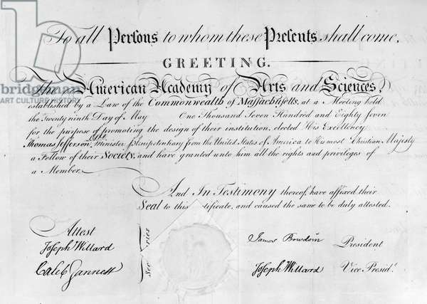 JEFFERSON: CERTIFICATE, 1787 Certificate of membership to the American Academy of Arts and Sciences, awarded to Thomas Jefferson, 1787.