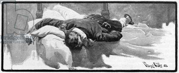 BATTLE OF FLAMBOROUGH HEAD American naval commander John Paul Jones, wounded aboard the USS Bonhomme Richard during the Battle of Flamborough Head on 23 September 1779. Illustration, American, 1899.