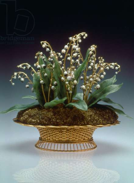 FABERGE FLOWERS, 1896 Faberge Lilies of the Valley Basket, with gold, silver, nephrite, pearls, diamonds, 1896. Photograph.