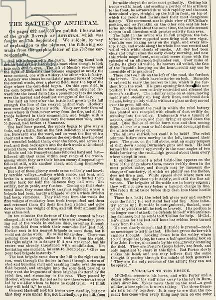 CIVIL WAR: ANTIETAM, 1862 Headline and beginning of an article about the Battle of Antietam, Maryland, 17 September 1862, from an American newspaper of October 4 that year.