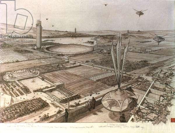 WRIGHT: BROADACRE, 1934 Plan of Broadacre City, designed by Frank Lloyd Wright.