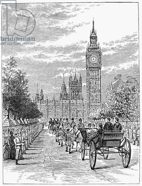 VICTORIA: JUBILEE, 1887 Queen Victoria of England riding in an open carriage during the Golden Jubilee procession, 21 June 1887. Contemporary wood engraving.