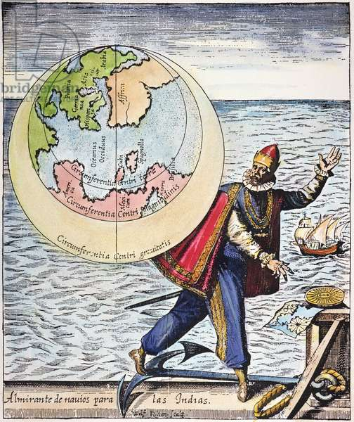 COLUMBUS: TRIBUTE, 1621 Allegorical tribute to Christopher Columbus and his discovery of the New World, including 'America' and 'Spagniolla' as shown on the accompanying map. Engraving, 1621.
